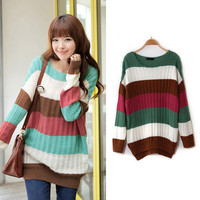 Multiple Color Striped Long Style Knitted Sweater