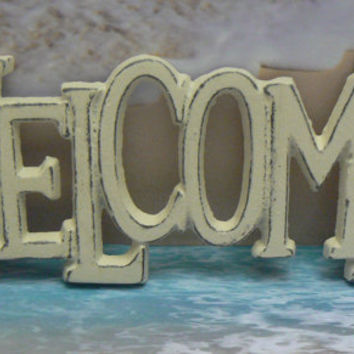Welcome Wall Plaque Sign Cast Iron Distressed Shabby Chic Off White Cast Iron Beach House Decor Shabby Chic Decor Entryway Door Sign