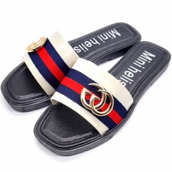 GUCCI 2018 new fashion British style summer non-slip flat flip-flops color slippers Black