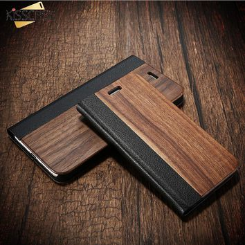KISSCASE Wood Case For iPhone 8 7 6 6S Plus Cases Genuine Bamboo Flip Leather Wallet Stand Coque For iPhone 6 6s 7 8 plus Case
