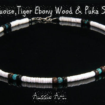 SH-031 Aussie Made Tiger Ebony Wood,Turquoise & Puka Shell Choker Men Necklace