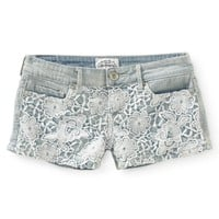 Crochet-Front Light Wash Denim Shorty Shorts - Aeropostale