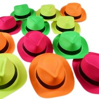 Dazzling Toys Neon Colored Plastic Gangster Hats Kids Costume Party Booth Hats 24 Pack
