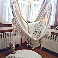 Luxury Hammock chair, 6 feet long, Extra big hammock chair, white chair, hanging chair, cotton hammock, hammock chair with bell fringe