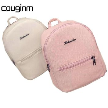COUGINM Sweet College Style Mini Shoulder Bag High Quality PU Leather Fashion Girl Candy Color Small Backpack Female Bag