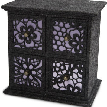 """Charcoal and Lavender - 8"""" x 5.75"""" x 8"""" - 4 Drawer Chest"""