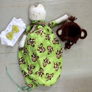 Monkey Shower Gift, Newborn Shower Gift, Newborn Gift, Baby Shower, Pajama Bag, Monkey Bonnet, Bany Bowtie, Hat, Bowtie, Outfit