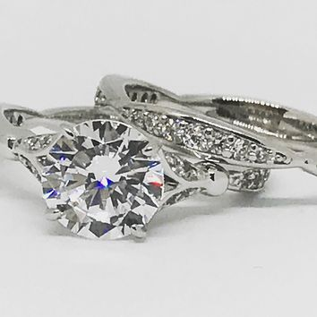 A Perfect 2.14CT Round Cut Solitaire Russian Lab Diamond Engagement Ring
