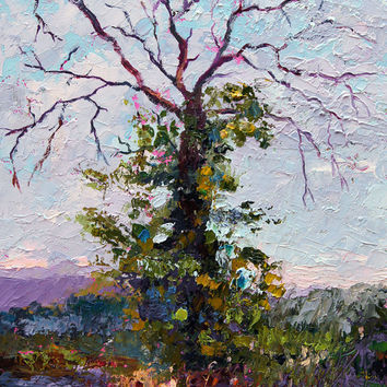 "Original Oil painting ""Splendour in Death"" by Marion Hedger - Tree painting, Impressionist palette knife landscape 7x10inch"