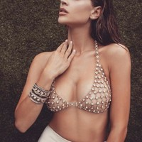 New Fashion Sexy Breast Chain Set Auger Body Chain Gold