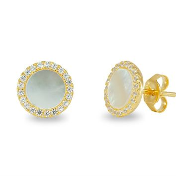 Circle Mother Of Pearl Stud Earrings in Gold Plated Silver