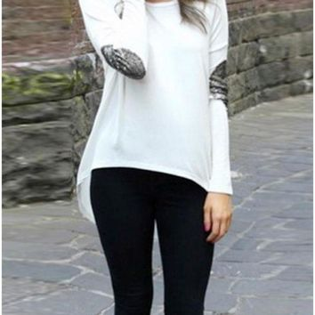 B| Chicloth Casual Patchwork Elbow Round Neck Long Sleeve Asymmetric Hem T-shirt