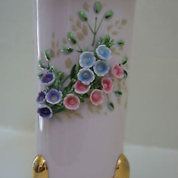 Rare 1950'S Lefton China 3 Legged Pink Vase with Flowers & Butterflies Japan