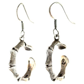 Silver Bamboo-Style Hoop Earrings