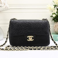 """""""Chanel"""" Simple Fashion All-match Flower Embossed Metal Chain Single Shoulder Messenger Bag Women Small Square Bag"""