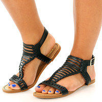 Stranded In Style Sandals: Black