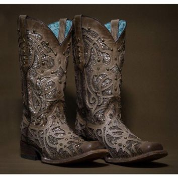 Corral Orix Glittered Inlay and Studs Square Toe Boot