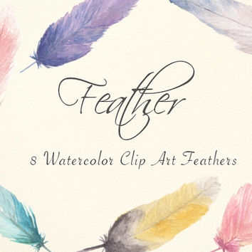 Feather Watercolor Clip Arts Scrapbooking Digital Files Wedding Invitation