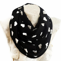 Valentines Day Gift, Heart Pattern, Soft Black Infinity Scarf,Tube Scarf, Women Accessories