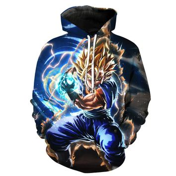 6XL Anime Dragon Ball Z DBZ Pocket Hooded Sweatshirts 3D Super Saiyan Hero Vegeta Hoodies Pullovers Harajuku Men Women Outerwear