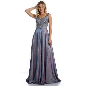 V-Neck Metallic Long Prom Dress with Appliques Purple