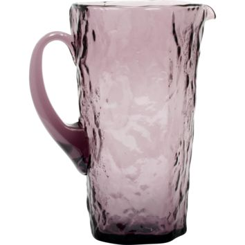 Morgantown Crinkle Amethyst Glass Pitcher Vintage Mid Century Modern Cocktail Juice