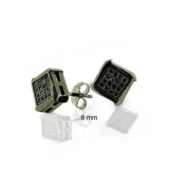 Black Geometric Pave CZ Cubic Zirconia Square Stud Earrings For Men