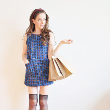 r e s e r v e d 1990s Clueless dress . preppy blue boucle plaid .extra small.xs .disaster relief