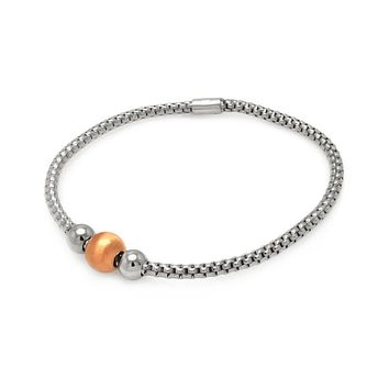 .925 Sterling Silver Rhodium &  Rose Gold Plated Italian Waived Bracelet