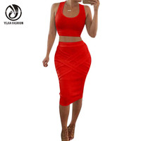 YEJIA FASHION Sexy Sleeveless 2 Piece Set Women Bandage Bodycon Pencil Party Club Dress Off Shoulder Crop Top+Pencil Skirt Set