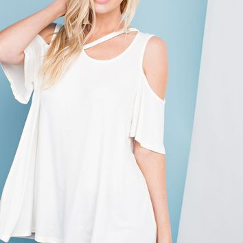 Round Neck, Open Shoulder Top with Neckline Cut Out Detail - Ivory