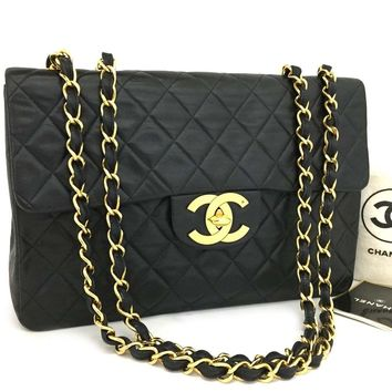 CHANEL Maxi Jumbo 34 Quilted Matelasse XL Lambskin w/Chain Shoulder Bag /k149
