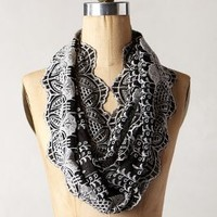 Eyelet Vines Infinity Scarf by Anthropologie Black One Size Scarves