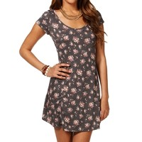 Charcoal/Rose Short Sleeve Floral Dress