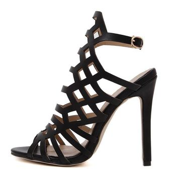 Women Pumps Gladiator Sandals Peep Toe Ankle Strap High Heel Stiletto Print PU Leather Cut Out Summer Shoes Woman