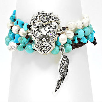 Turquoise & Pearl  Bead Silver Day of the Dead Mexican Sugar Skull Wrap Bracelet / Necklace