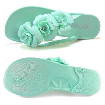 ABDB Flower Women Flat Flip Flops Bohemian Gladiator Women Summer Style Fashion Beach Women's Slippers