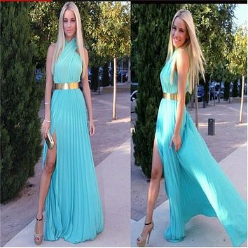 Summer Dress Women Sleeveless Sexy Halter Chiffon Long Party Dresses Floor Length Side Split Maxi Beach Party Dress