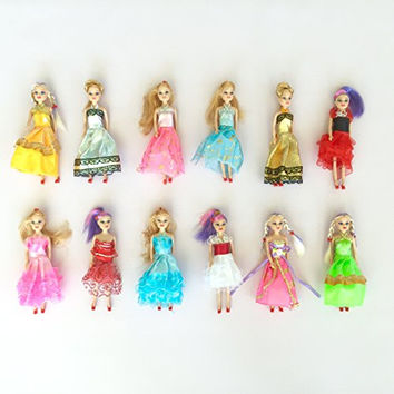 "Miniature Barbie doll 12 pack playset bundle with princess and fashion clothes accessories. Great for birthday party favors, tea parties, and dollhouses. 6"" tall"