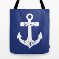 Love Hope Anchor Sea Slate Navy Blue Tote Bag by BeautifulHomes | Society6