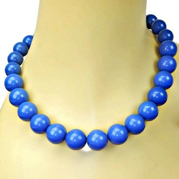 Blue Bubble Gumball Graduated Bead Necklace 1960's 25 inches