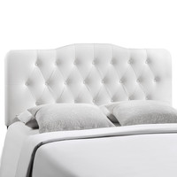 Annabel Queen Vinyl Headboard in White