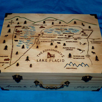 Romantic Wedding Box Custom Card Box Destination Wedding Suitcase Large Wood Map Travel Burned Keepsake Holder Personalized Engraved Box