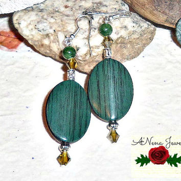 "Tribal Earrings: Handmade Wooden Dyed Green, Aventurine and Swarovski Crystals ""Prosperity"""