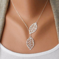Fashion adjustable silver leaves necklace chain necklace women necklace girls necklace made of silver leaves chain pendant necklace  XL-2518