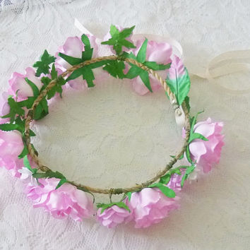 Fairy crown Pink Rose crown Big Rose headpiece / Flower crown/ Rose headpiece