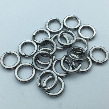 50pcs/lot Squash double ring Super Strong Ring Hard Accessories Dual Fishing Hard Lure Bait Connector Rings 304 Stainless Steel