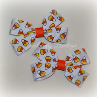 Halloween Hair Bow ~ Halloween Clippies ~ Small Halloween Bow ~ Small Orange Bow ~ Halloween Pigtails ~ Candy Corn Bow ~ Orange & Yellow Bow