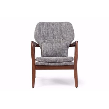 Rundell Mid-Century Modern Retro Grey Fabric Upholstered Leisure Accent Chair By Baxton Studio