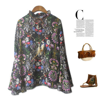 Stylish New Arrival Jewelry Gift Shiny Vintage Totem Floral Chiffon Blouse Necklace [4918279108]